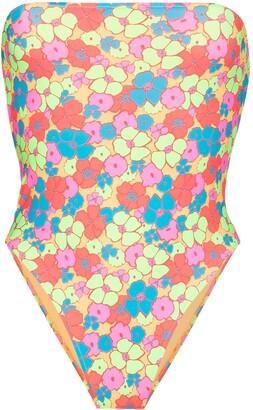 Frankie's Bikinis Stella floral print bandeau swimsuit