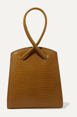 Little Liffner Twisted Mini Lizard-effect Leather Tote - Tan