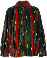 Marni stripe patch fur bomber jacket - women - Lamb Skin/Mink Fur/Cupro/Viscose - 40
