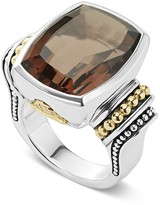 Lagos 18K Gold and Sterling Silver Caviar Color Large Smoky Quartz Ring