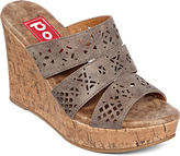 POP Idol Laser-Cut Wedge Sandals