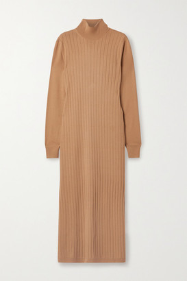 Loro Piana Times Square Ribbed Cashmere Turtleneck Midi Dress - Camel