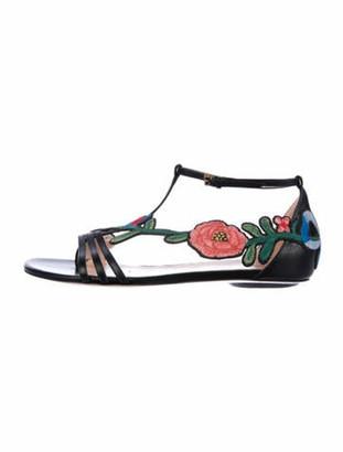 Gucci Leather Floral Print T-Strap Sandals Black