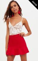 PrettyLittleThing Petite Red Flippy Hem Skirt
