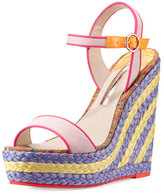 Sophia Webster Lucita Canvas Espadrille Wedge Sandal, Pastel Pink