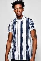 boohoo Short Sleeve Vertical Stripe Shirt navy