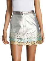 Tommy Hilfiger Collection Layered Leather Mini Skirt
