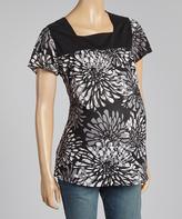 Black & Gray Floral Square Neck Maternity Top