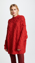 Ryan Roche Crew Neck Oversized Cable Sweater