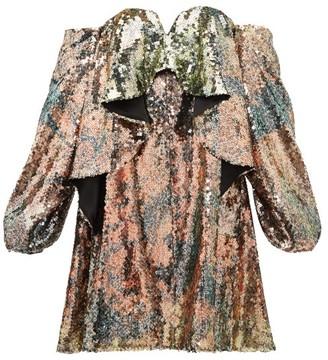 Halpern Sequinned Draped Bustier Dress - Womens - Multi