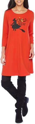 City Streets 3/4 Sleeve Halloween Themed Swing Dresses