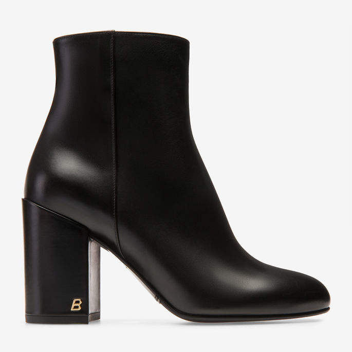 Bally Bowler Black, Women's calf leather ankle boot with 85mm heel in black