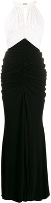 Alexander McQueen Two-Tone Halter Neck Draped Dress