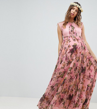 Asos DESIGN Maternity pleated short sleeve maxi dress in pink Floral print