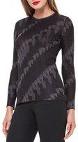 Akris Jockey-Jacquard Crewneck Sweater, Black/Lure