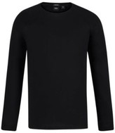 HUGO BOSS - Long Sleeved T Shirt In Mercerized Cotton With Ribbing - Black
