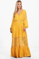 boohoo Plus Ebony Boho Lace Insert Maxi Dress