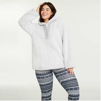 Joe Fresh Women+ Sherpa Hoodie, Light Grey (Size 2X)