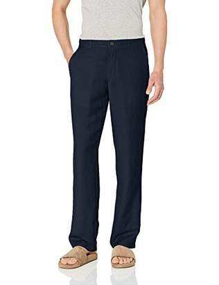 Amazon Essentials Classic-fit Flat-front Linen Pant Casual,Large