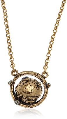 Alcozer & J Golden Brass Saturn Necklace