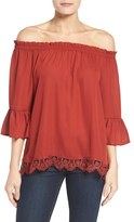 Bobeau Women's Off The Shoulder Lace Hem Top