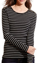 Lauren Ralph Lauren Petite Striped Zip-Shoulder Top