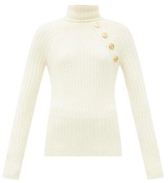 Balmain Button Roll-neck Wool-blend Sweater - Cream