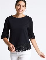 Marks and Spencer Pure Cotton Broderie Peplum T-Shirt