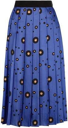 Victoria Victoria Beckham Blue Record-print Satin Midi Skirt