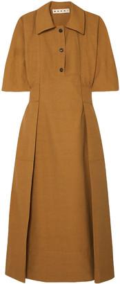 Marni Pleated Canvas Midi Dress