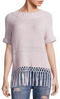 Current/Elliott Peggy Fringe Hem Crochet Sweater