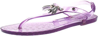 Tod's Purple Jelly Tassel Thong Slingback Flat Sandals Size 37