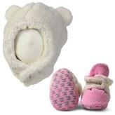 Zutano Furry Bear Hat & Gripper Bootie Set (Baby)