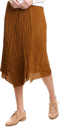 Vince Crinkle Pleated Silk-Blend A-Line Skirt