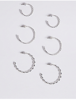 M&S Collection 3 Pack Silver Plated Hoop Earrings Set