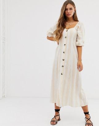 Asos Design DESIGN button through maxi dress in seersucker in stripe-Multi