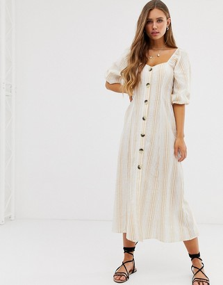 Asos DESIGN button through maxi dress in seersucker in stripe
