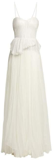 Maria Lucia Hohan Godiva Pleated Silk Blend Gown - Womens - White