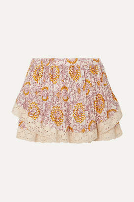 Hannah Artwear - Chai Gathered Crochet-trimmed Floral-print Voile Shorts - Blush