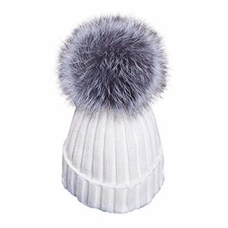 Feifanshop Womens Girls Warm Winter Crochet Hat Wool Knitted Beanie with Large Faux Fox Fur Pom Pom Cap Ski Snowboard Hats Bobble Ball (Grey)