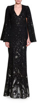 Alexander McQueen Moon & Star V-Neck Cape Gown, Black/Silver/Gold