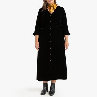 Smooth Velvet Buttoned Dress with 3/4 Sleeves