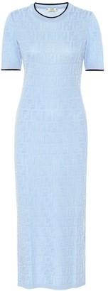 Fendi FF jacquard cotton-blend midi dress
