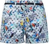Loveless - belted print shorts - women - Cotton/Polyurethane - 34