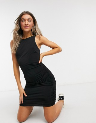 Miss Selfridge ruched bodycon mini dress in black