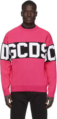 GCDS Pink and Black Logo Sweater