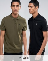 Asos 2 Pack Skater Fit Pique Polo Shirt With Logo In Black/Khaki