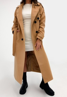 Missguided Camel Formal Trench Coat
