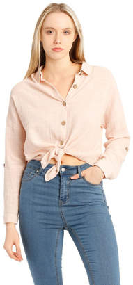 Miss Shop Tie Front Long Sleeve Textured Shirt