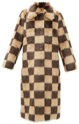 Stand Studio Nino Checked Faux-fur Coat - Brown Beige